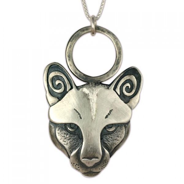 Mountain Lion Pendant Silver on Chain