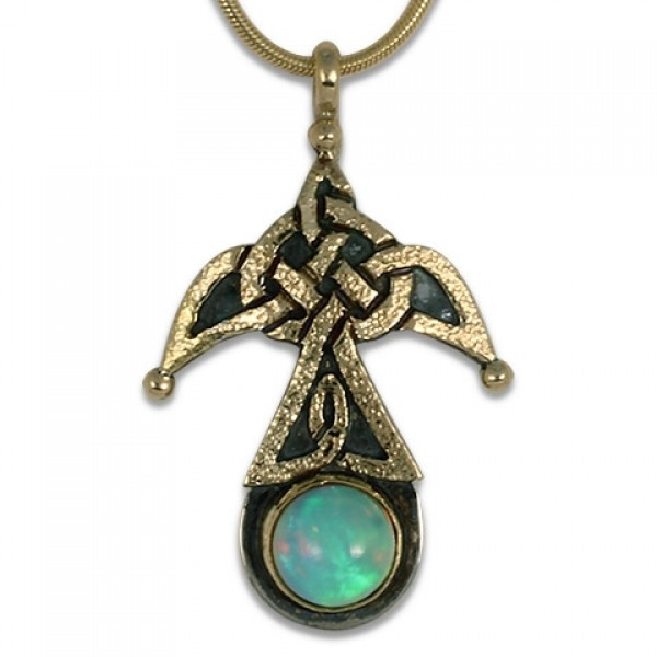 Swallow Pendant with Opal (Medium)