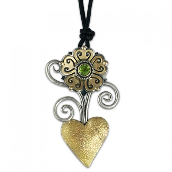 Heart Flower Pendant on Leather