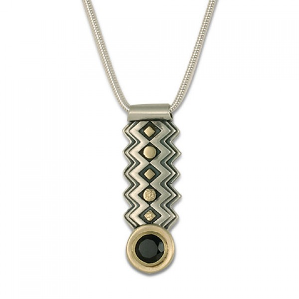 Zig Zag Pendant with Gem