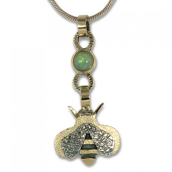 Bee Pendant with Ethiopian Opal