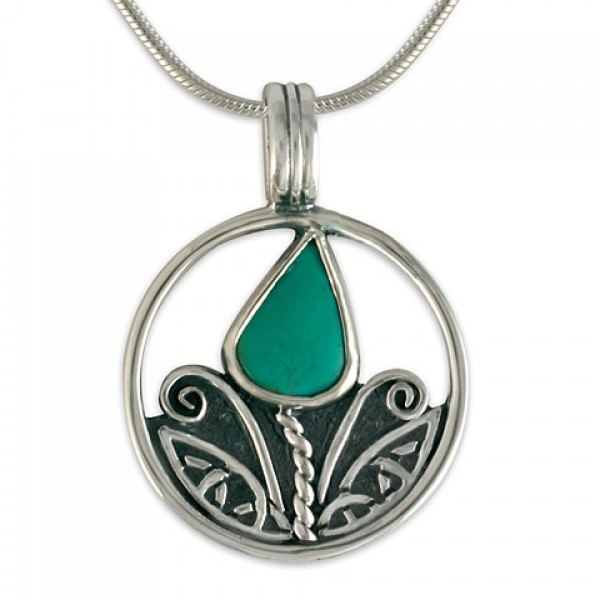Tulip with Turquoise Silver Pendant