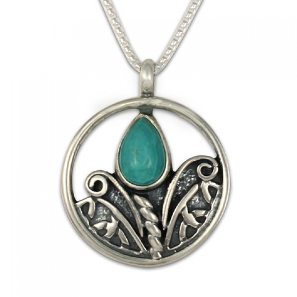 Small Tulip with Turquoise Silver Pendant