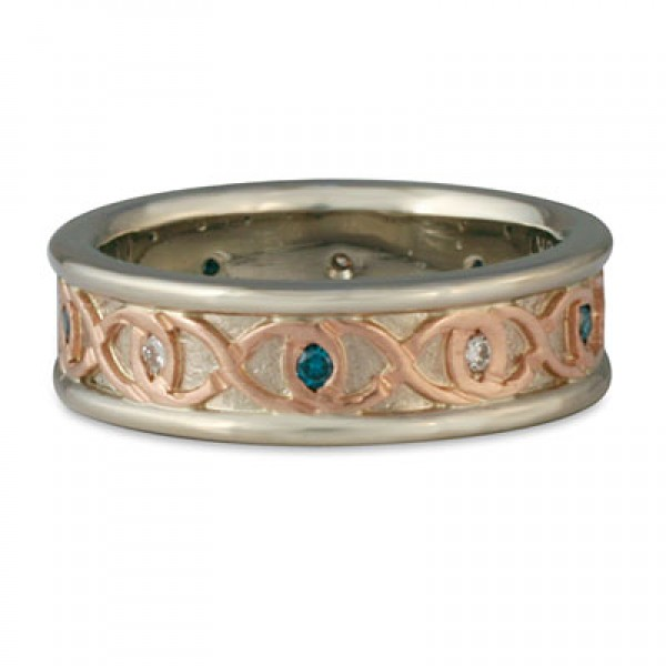 Twinning Infinity Ring Gold with Blue Diamonds Narrow