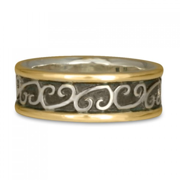 Heart Vine Ring Gold Over Silver with Border (GSG)