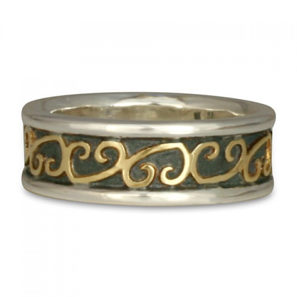 Heart Vine Ring Gold Over Silver with Border (SGS)