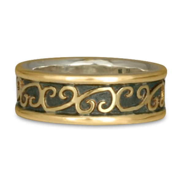 Heart Vine Ring Gold Over Silver with Border (GGG)