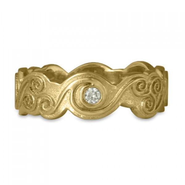 Triscali with Diamonds Ring 14K Yellow Gold