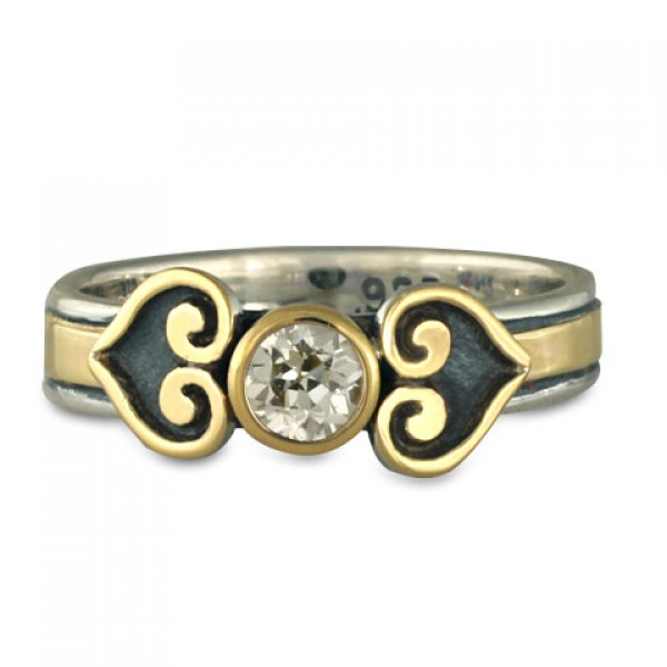 Corazon Engagement Ring in Gold over Silver