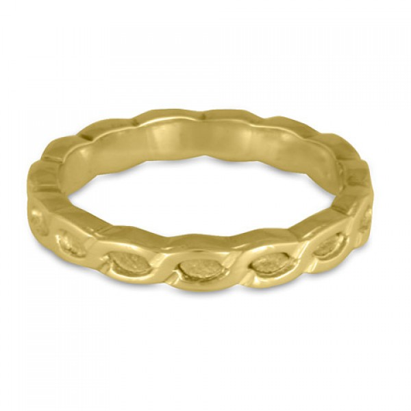 Borderless Rope Wedding Ring in 18K Yellow or White Gold-Flush
