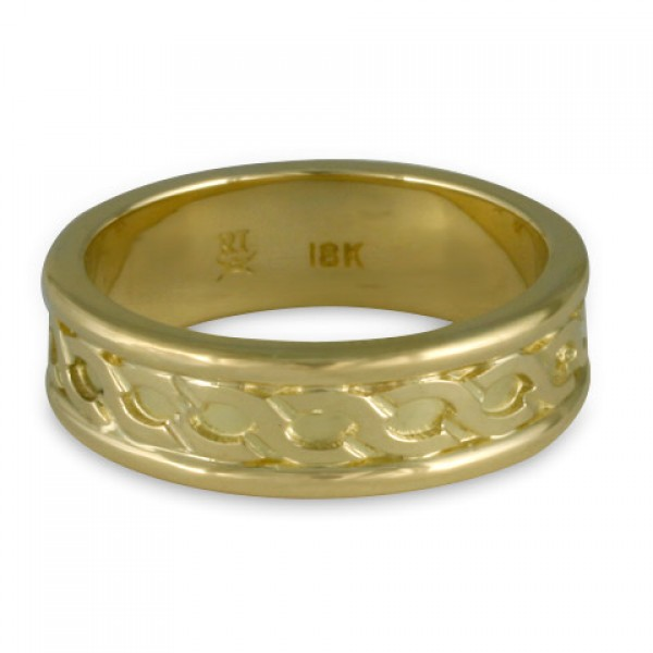 Bordered Rope Wedding Ring in 18K Yellow or White Gold