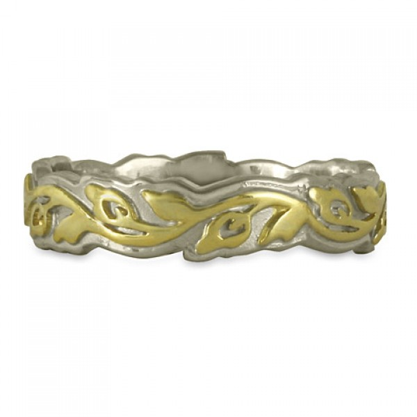 Narrow Borderless Flores Wedding Ring in Two Tone Gold 14K/18K
