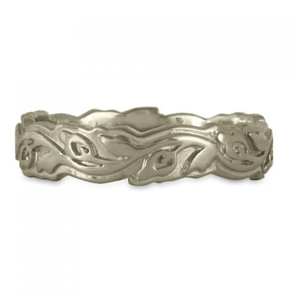 Narrow Borderless Flores Wedding Ring in 14K White or Yellow  Gold