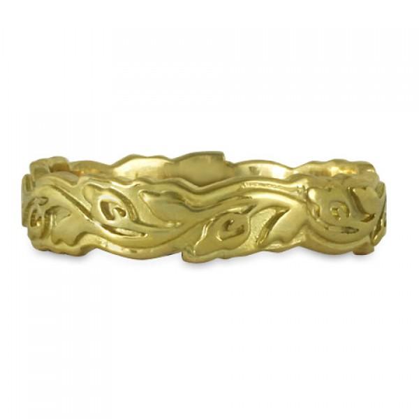 Narrow Borderless Flores Wedding Ring in 18K Yellow or White Gold