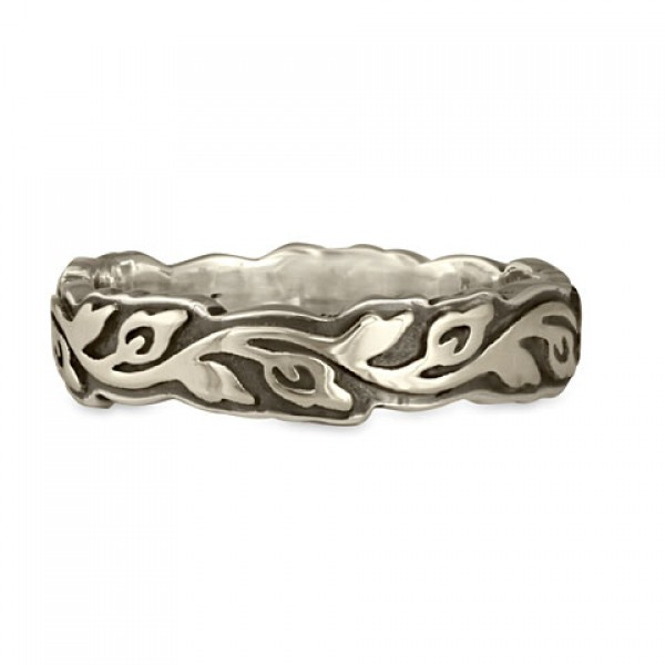 Narrow Borderless Flores Wedding Ring in Sterling Silver
