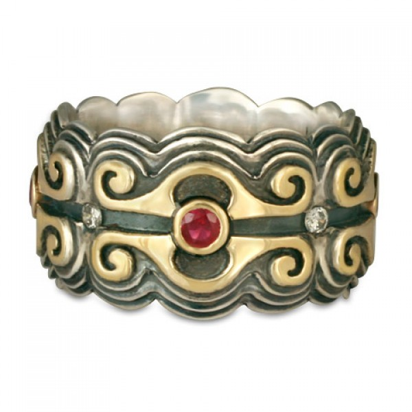 Medieval Ring with Gems and Diamonds