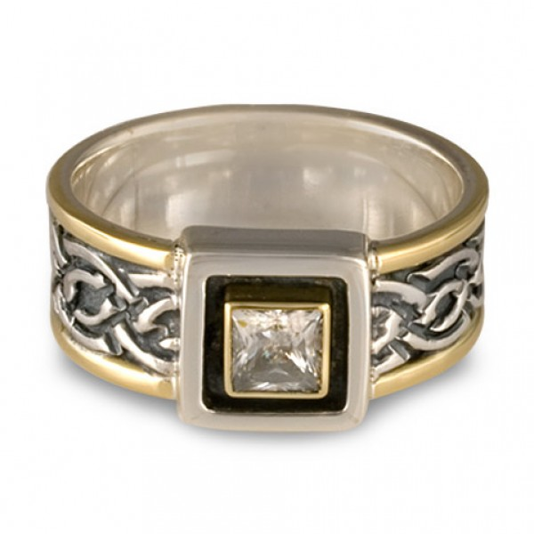 Laura Bordered Ring with Square Mount and Gem