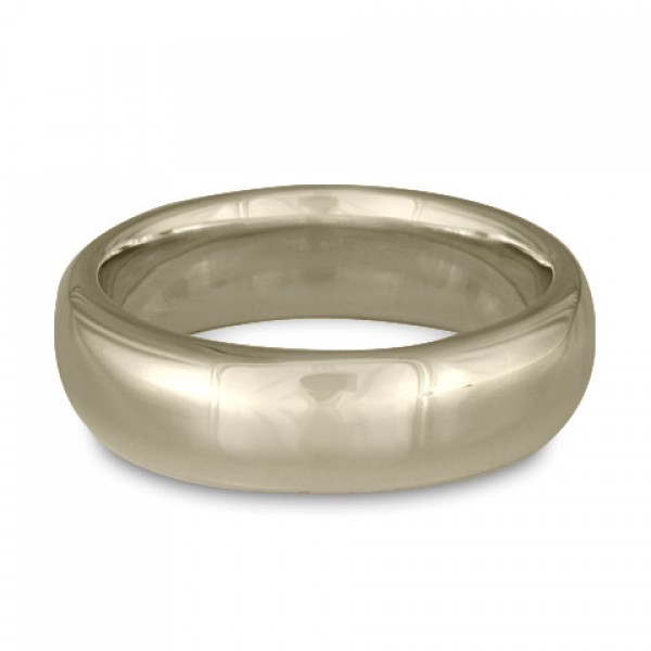 Classic Comfort Fit Wedding Ring, 14K White Gold 7mm Wide by 2mm Thick