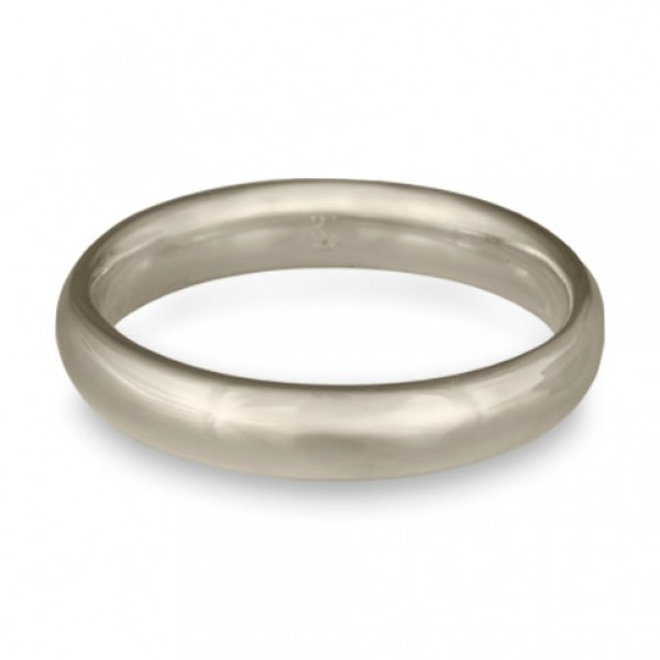 Classic Comfort Fit Wedding Ring, 14K White Gold 4mm Wide by 2mm Thick