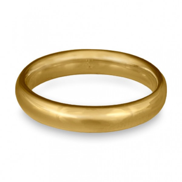 Classic Comfort Fit Wedding Ring, 14K Yellow Gold 4mm Wide by 2mm Thick