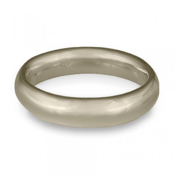 Classic Comfort Fit Wedding Ring, 14K White Gold 5mm Wide by 2mm Thick