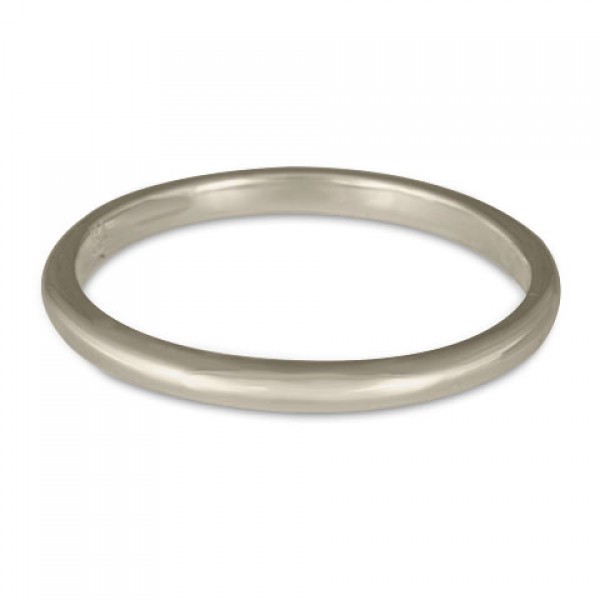 Classic Comfort Fit Wedding Ring, 14K White Gold 2mm Wide by 1.5mm Thick