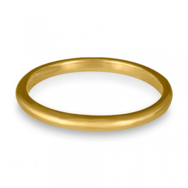 Classic Comfort Fit Wedding Ring, 18K Yellow Gold 2mm Wide by 1.5mm Thick