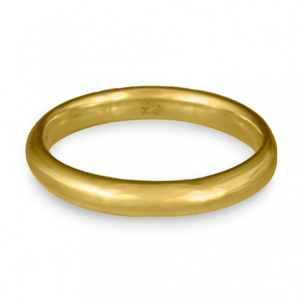 Classic Comfort Fit Wedding Ring, 18K Yellow Gold 3mm Wide by 2mm Thick