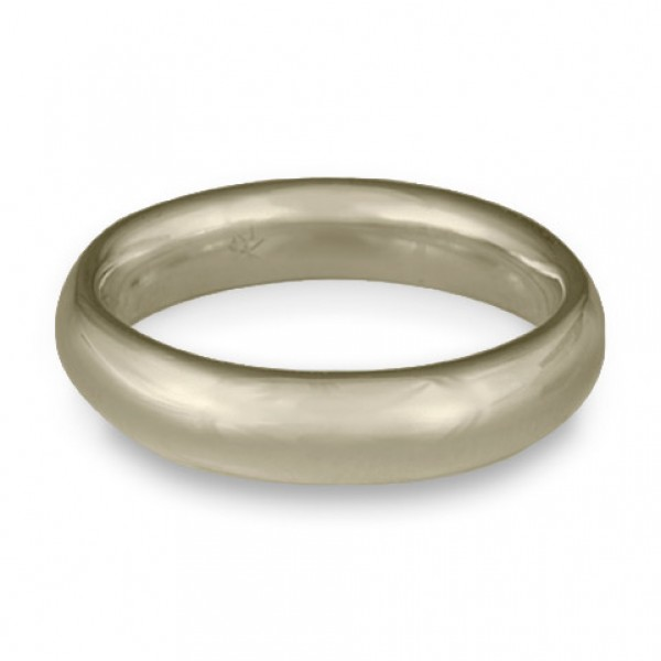 Classic Comfort Fit Wedding Ring, 18K White Gold 5mm Wide by 2mm Thick