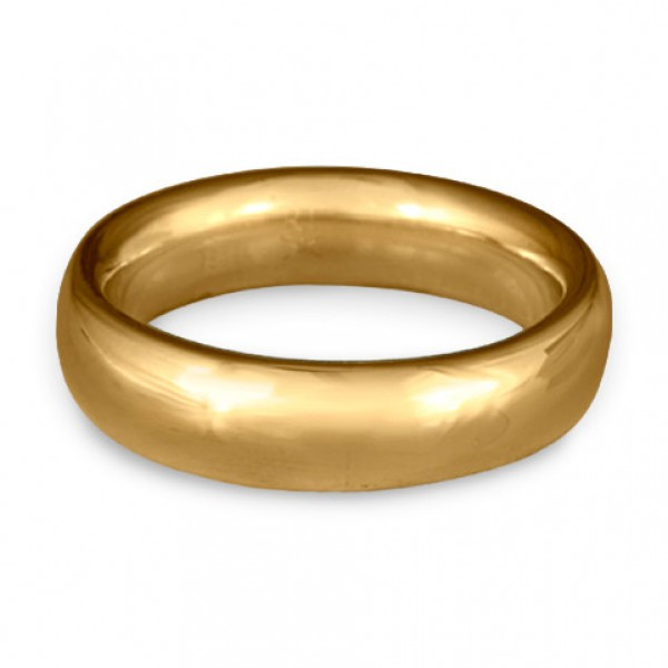 Classic Comfort Fit Wedding Ring, 14K Yellow Gold 6mm Wide by 2mm Thick