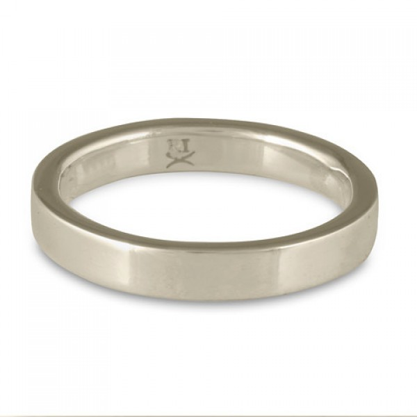 Flat Comfort Fit Wedding Ring, 14K White Gold 3mm Wide by 2mm Thick