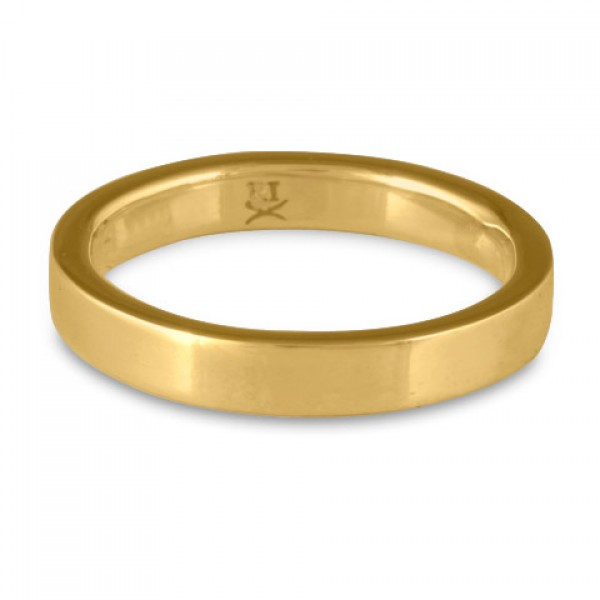 Flat Comfort Fit Wedding Ring, 14K Yellow Gold 3mm Wide by 2mm Thick