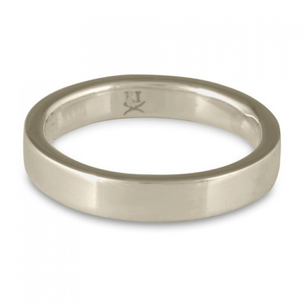 Flat Comfort Fit Wedding Ring, 14K White Gold 4mm Wide by 2mm Thick