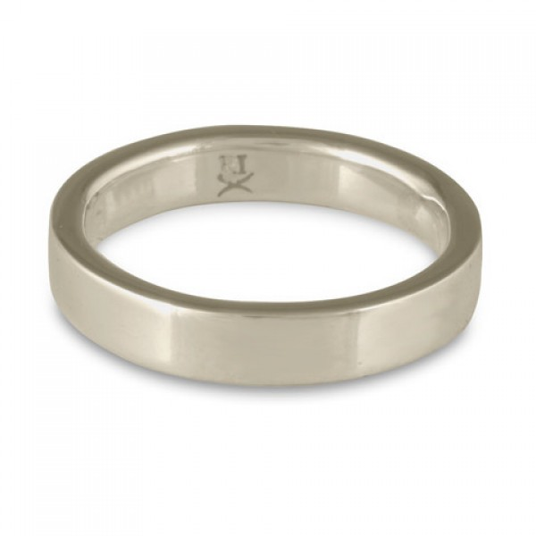 Flat Comfort Fit Wedding Ring, 14K White Gold 5mm Wide by 2mm Thick