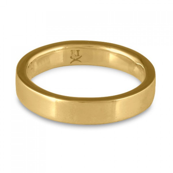 Flat Comfort Fit Wedding Ring, 14K Yellow Gold 5mm Wide by 2mm Thick