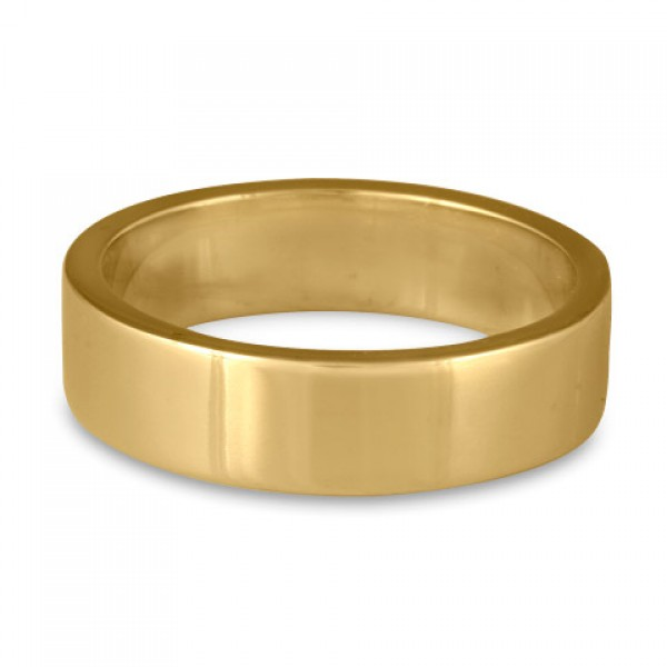 Flat Comfort Fit Wedding Ring, 14K Yellow Gold 6mm Wide by 2mm Thick
