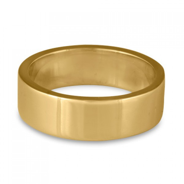 Flat Comfort Fit Wedding Ring, 14K Yellow Gold 7mm Wide by 2mm Thick