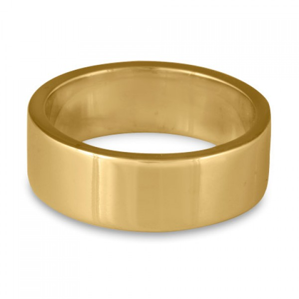 Flat Comfort Fit Wedding Ring, 14K Yellow Gold 8mm Wide by 2mm Thick