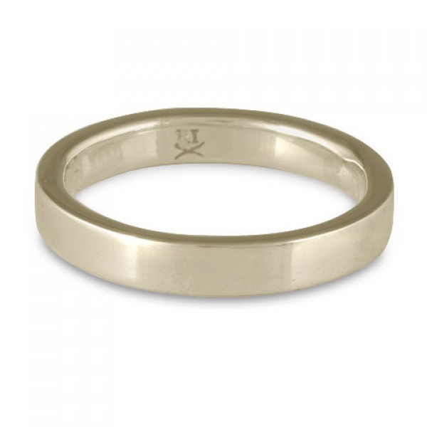 Flat Comfort Fit Wedding Ring, 18K White Gold 3mm Wide by 2mm Thick