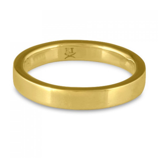 Flat Comfort Fit Wedding Ring, 18K Yellow Gold 3mm Wide by 2mm Thick