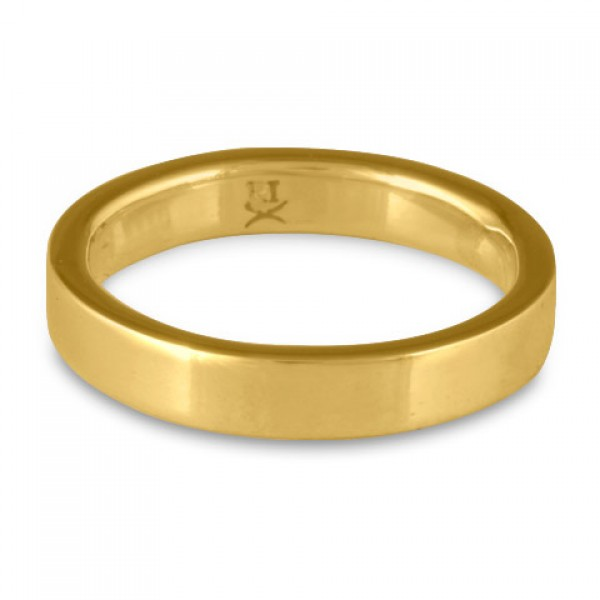 Flat Comfort Fit Wedding Ring, 18K Yellow Gold 4mm Wide by 2mm Thick