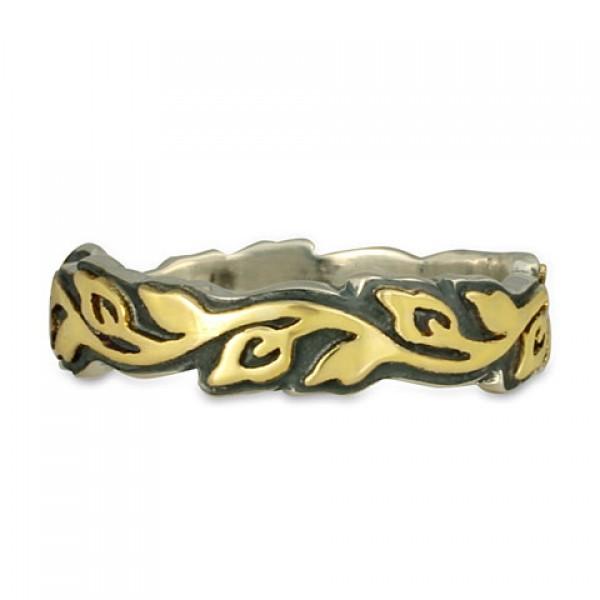 Medium Borderless Flores Wedding Ring in Gold over Silver