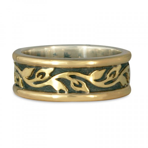 Medium Bordered Flores Wedding Ring in Gold over Silver (GGG)