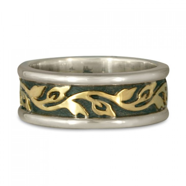 Medium Bordered Flores Wedding Ring in Gold over Silver (SGS)