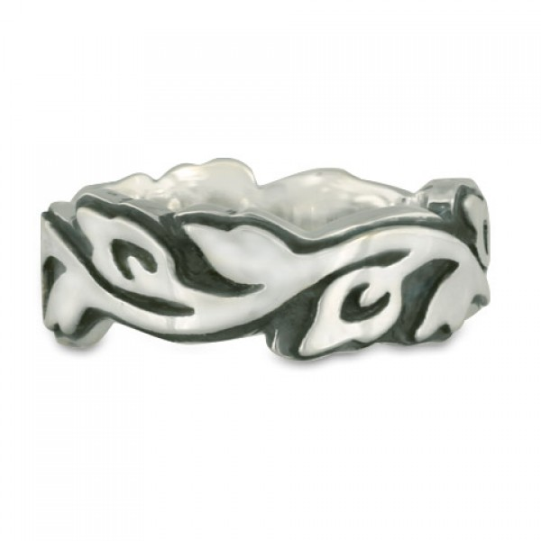 Wide Borderless Flores Wedding Ring in Sterling Silver