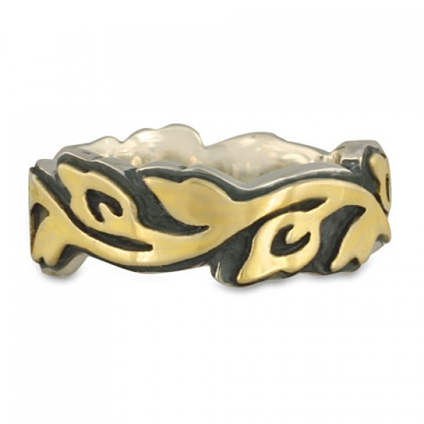 Wide Borderless Flores Wedding Ring in Gold and Silver