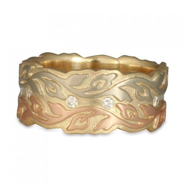 Liana with Diamonds Tri-Color Ring