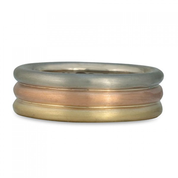 Trae Round Three Color Gold Ring