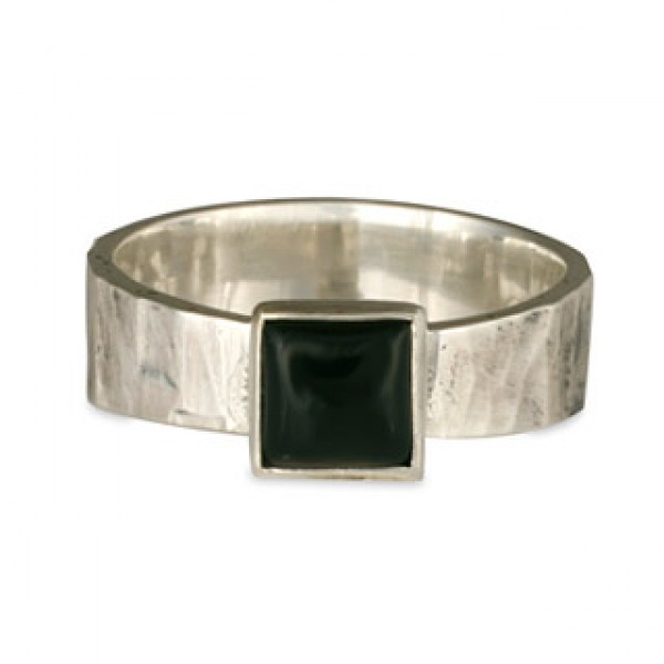 Hammered Ring with Square Onyx