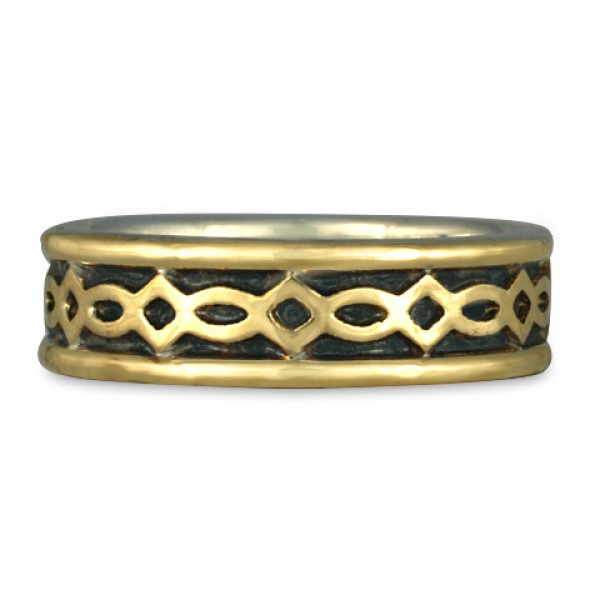 Bordered Felicity Wedding Ring in Gold over Silver (GGG)